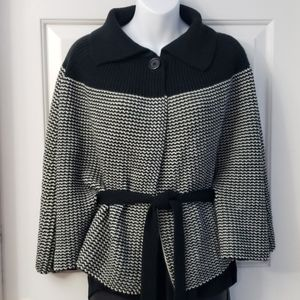 Shaker Knit Belted Cape